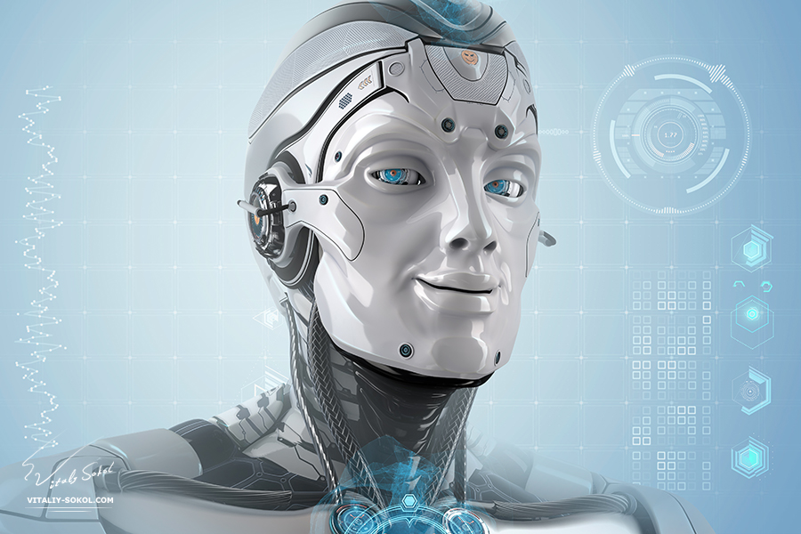 3D Robot by Vitaliy Sokol: Closeup portrait of a male robot with smiling face and shining digital blue eyes. Futuristic background with virtual HUD icons for your design. Artificial good mood head of cybernetic creature.