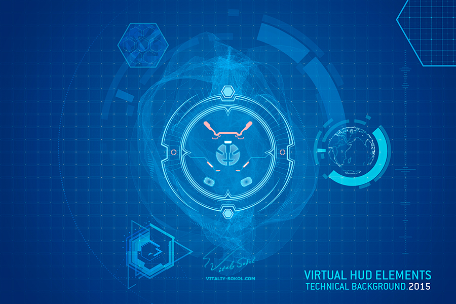 Design by Vitaliy Sokol: Virtual hud elements for futuristic design. Abstract shining icons on blue digital screen. Creative Technology on dark background.