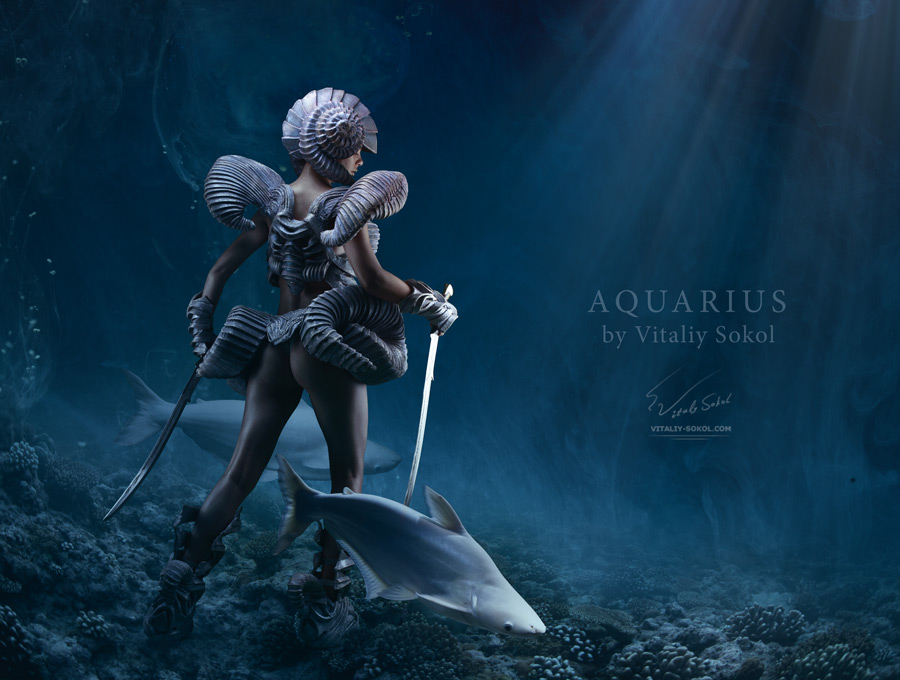 Artwork by Vitaliy Sokol, aquacyber underwater. Female warrior in a fantasy suit holding two swords