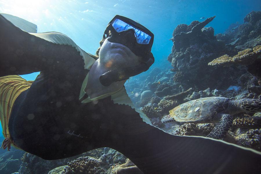 Подводное селфи черепаха и фотограф-ныряльщик