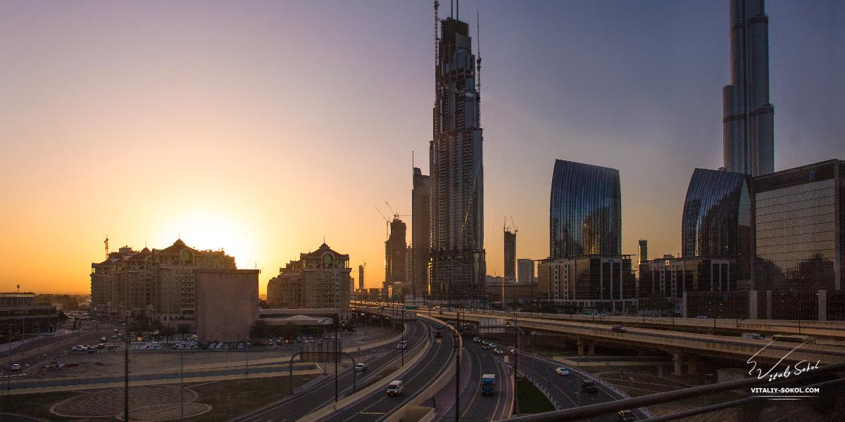Dubai photos. Sunrise skyscrapers and roads