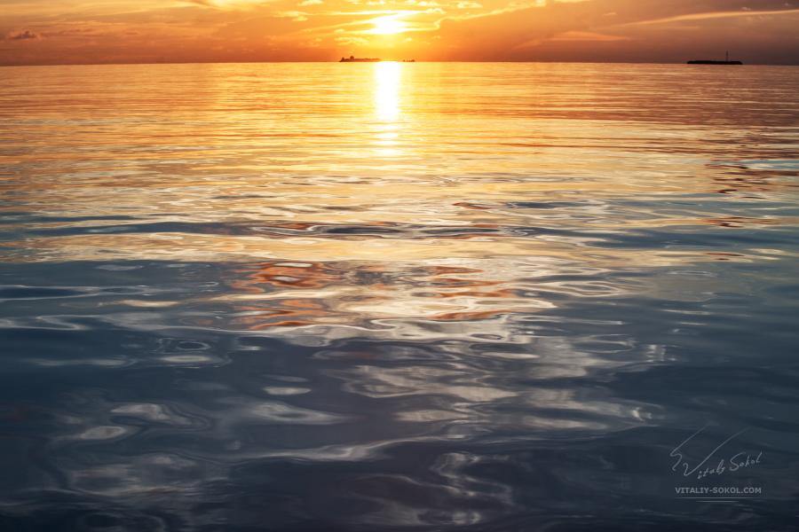 Мальдивы, утренний рейс, рассветный океан с борта лодки