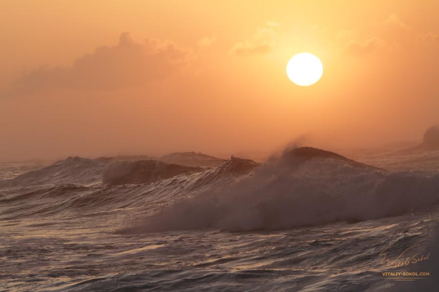 Sunset Ocean Waves in Hawaii
