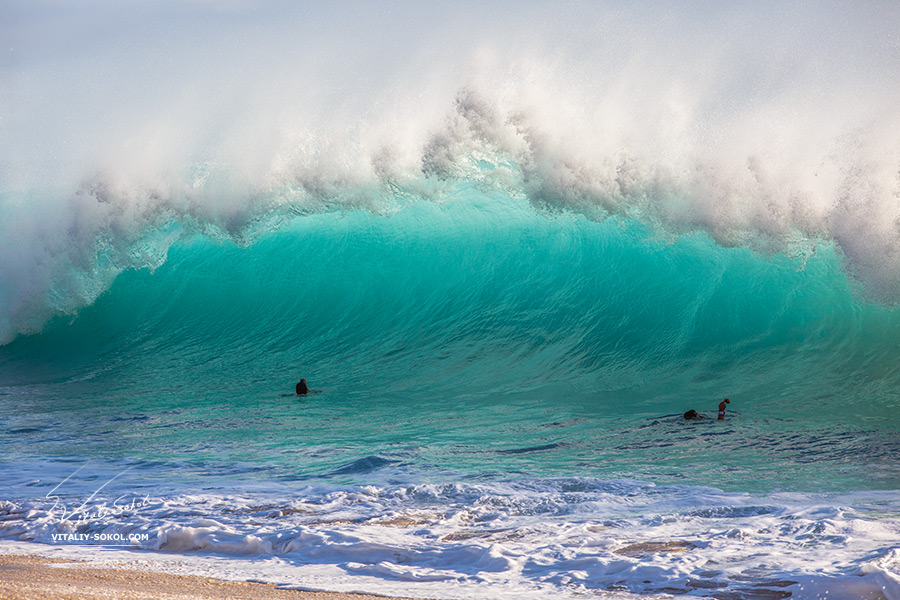 People shooting big shorebreak wave in Hawaii on Oahu island at Yokohama beach