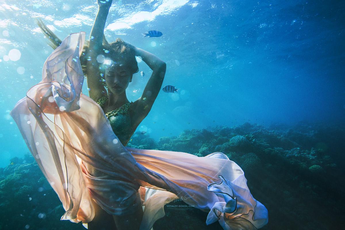 Подводная фотография прекрасной девушки модели