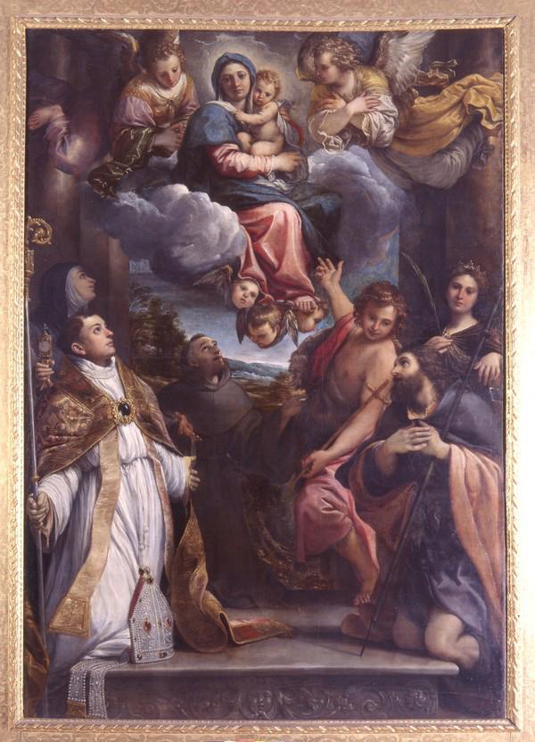 Мадонна с младенцем во славе и святые Лодовико, Алессио, Джованни Баттиста, Катерина, Франческо и Кьяра