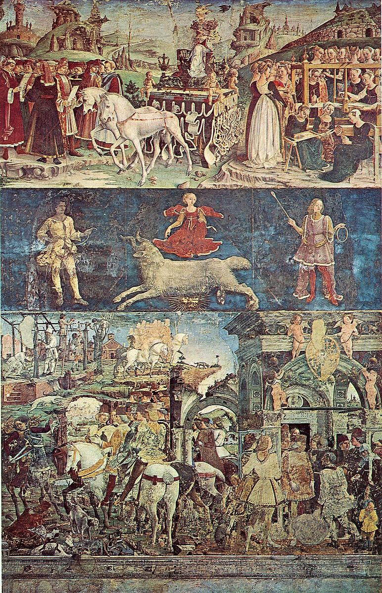 Дворец Скифанойя. Зал двенадцати месяцев. Франческо дель Косса. Март, сверху вниз: Триумф Минервы; Овен;Борсо д'Эсте вершит правосудие и охотится. Фото из википедии.