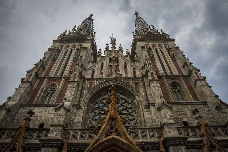Римско-католический костёл Святого Николая в Киеве, используемый с 1980 года в качестве Дома органной и камерной музыки. Стиль неоготика, архитектор Городецкий, 1899-1909 г.г.