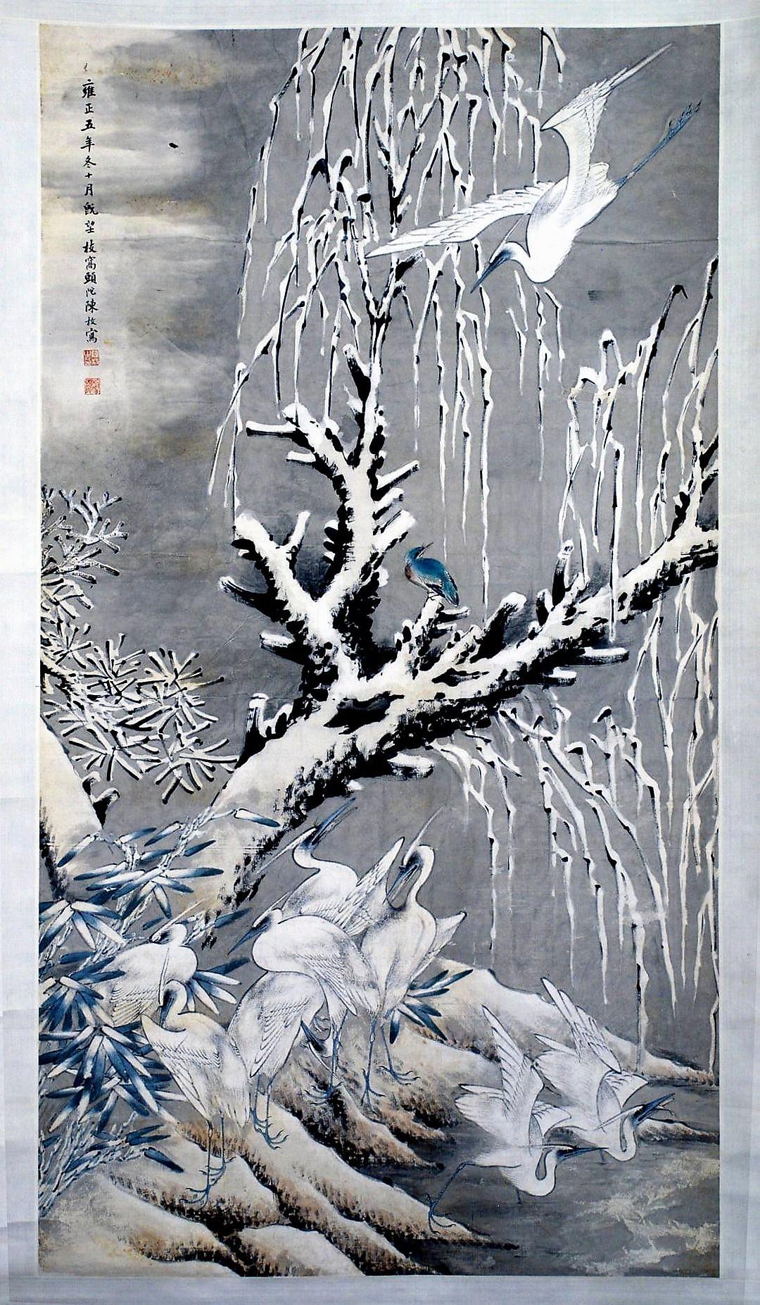 Хохлатые цапли на снегу.  Художник 19 в. (?) Китай. Бумага, тушь, водорастворимые краски