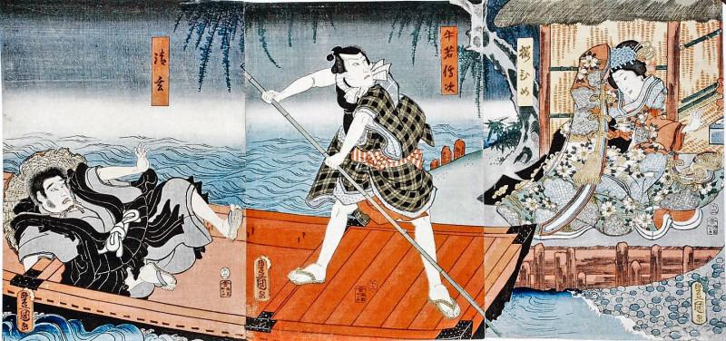 Утагава Кунисада, Сэйгэн, Ушивака Дендзи и Сакурахиме. 1858 год. Издатель Кага Кичибей, цветная ксилография