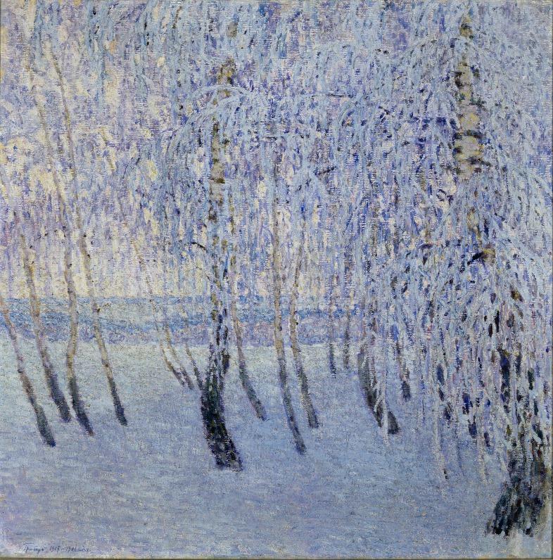 Игорь Грабарь «Иней» 1906-1907 гг.  Грабарь был мастером «зимнего пейзажа», «последним пленэристом России», который писал свои картины на морозе, хотя масляные краски приставали к кистям и полотну.