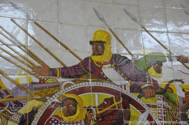 Персидский царь Дарий III. Фрагмент майоликового панно. Мануфактура Бьяджо Джустиниани и сыновья.