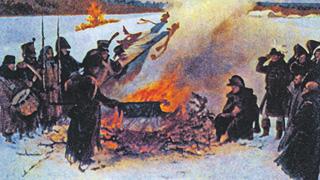 Сожжение знамен «Великой армии».В. Коссак. Сожжение знамен «Великой армии». 1911. Государственнй исторический музей, Москва
