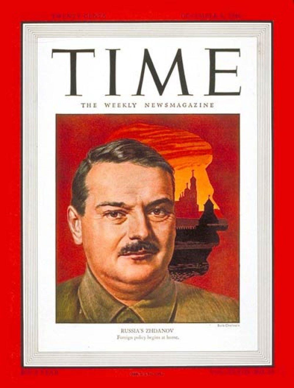 "Обложка журнала ""Time"" с портретом Жданова."