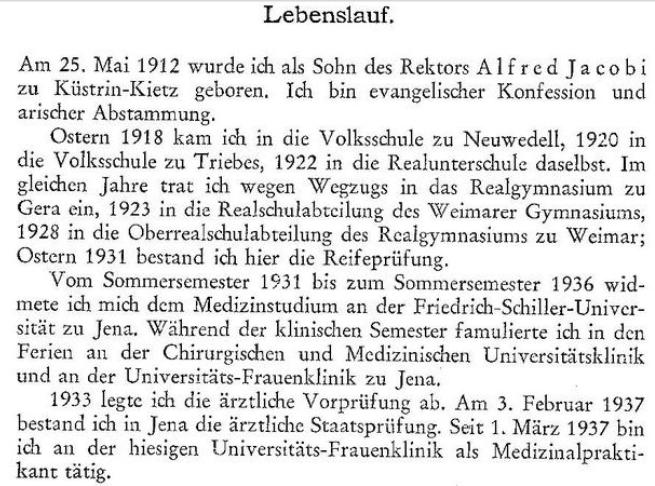 Lebenslauf in einer medizinischen Dissertation aus der Zeit des Nationalsozialismus (1937)