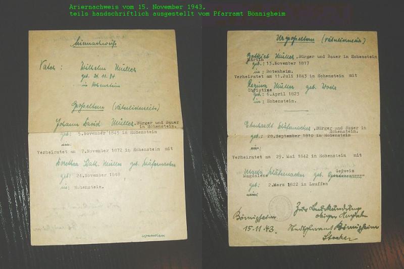 Ariernachweis (Vor- und Rückseite) von 1943