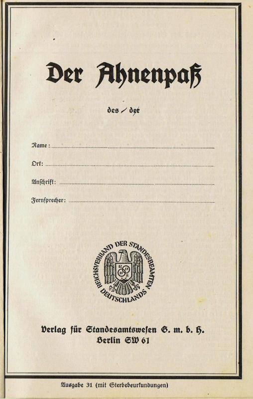Ahnenpass: Nachweis über die Abstammung im Dritten Reich