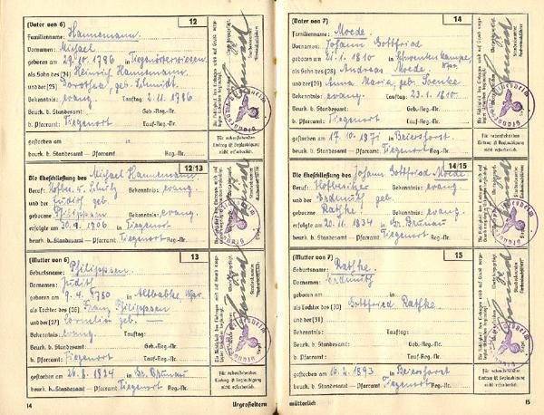 """Auszug aus einem Ariernachweis des """"Reichsverband der Standesbeamten Deutschlands (RDSD)"""", 31. Ausgabe (mit Sterbebeurkundungen, Verlag für Standesamtswesen G.m.b.H. Berlin SW 61)"""