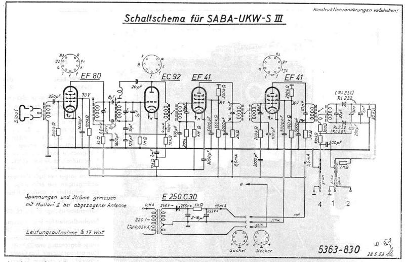 Принципиальная схема Saba UKW-S III