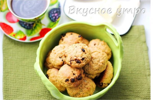 Овсяное печенье с семечками и изюмом