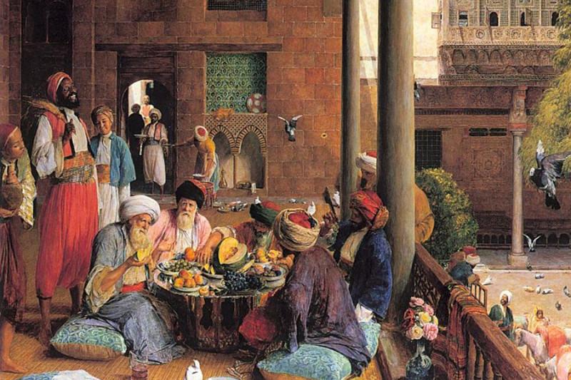 """Джон Фредерик Льюис, """"Обед в Каире"""" (""""The Mid-Day Meal, Cairo""""), 1875 г. Так мог бы выглядеть обед в рабате (караван-сарае, фундуке, хане - все это разные названия постоялого двора)"""