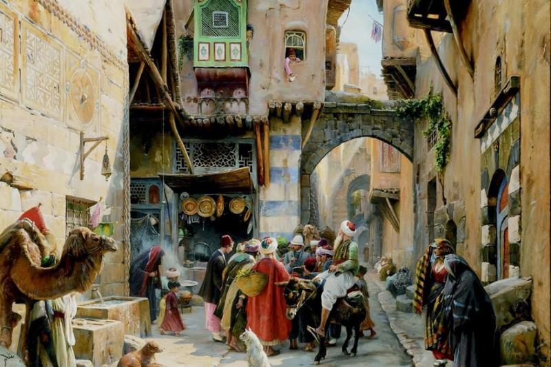 "Густав Бауэрфейнд, ""Уличная сценка в Дамаске"" (Gustav Bauernfeind, ""Straßenszene in Damaskus""), 1880 г."