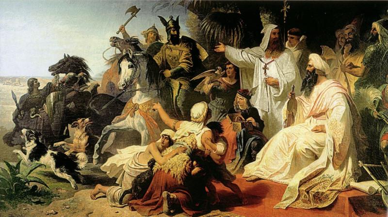Харун ар-Рашид принимает послов Карла Великого (Юлиус Кёкерт, 1864)