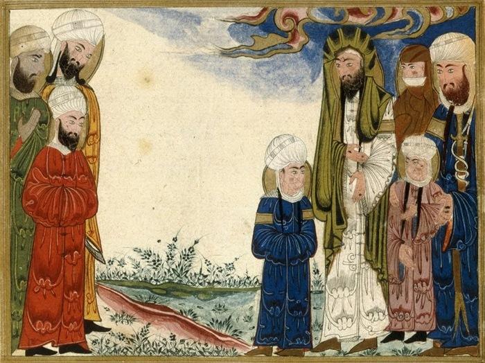 Семья Мухаммеда встречает Али с сыновьями Хасаном и Хусейном