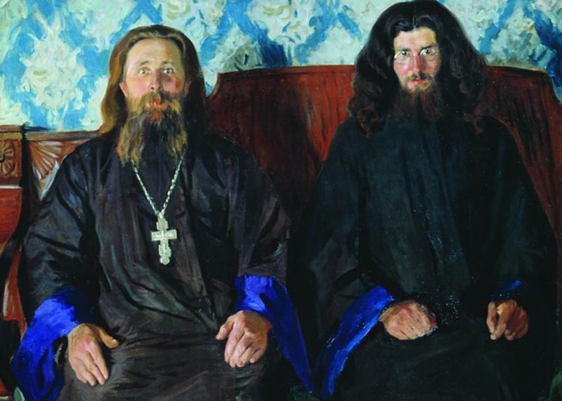 """Б. Кустодиев. """"Священник и диакон"""""""
