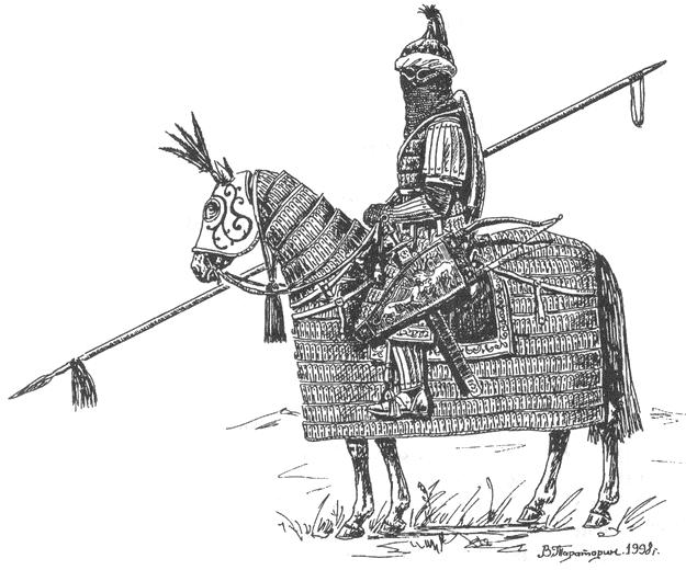 Конный воин в боевом снаряжении