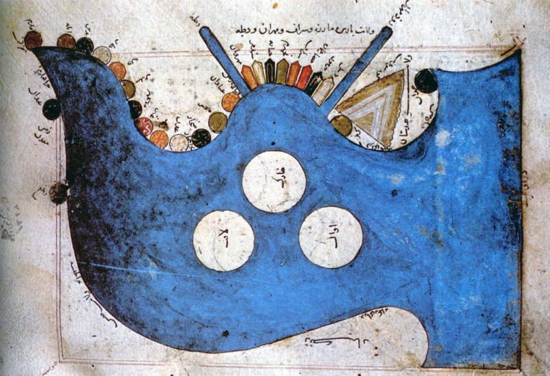 """Увеличенный фрагмент карты Истахри. В центре Индийский океан, две """"палки"""" вверх - реки Тигр и Евфрат"""