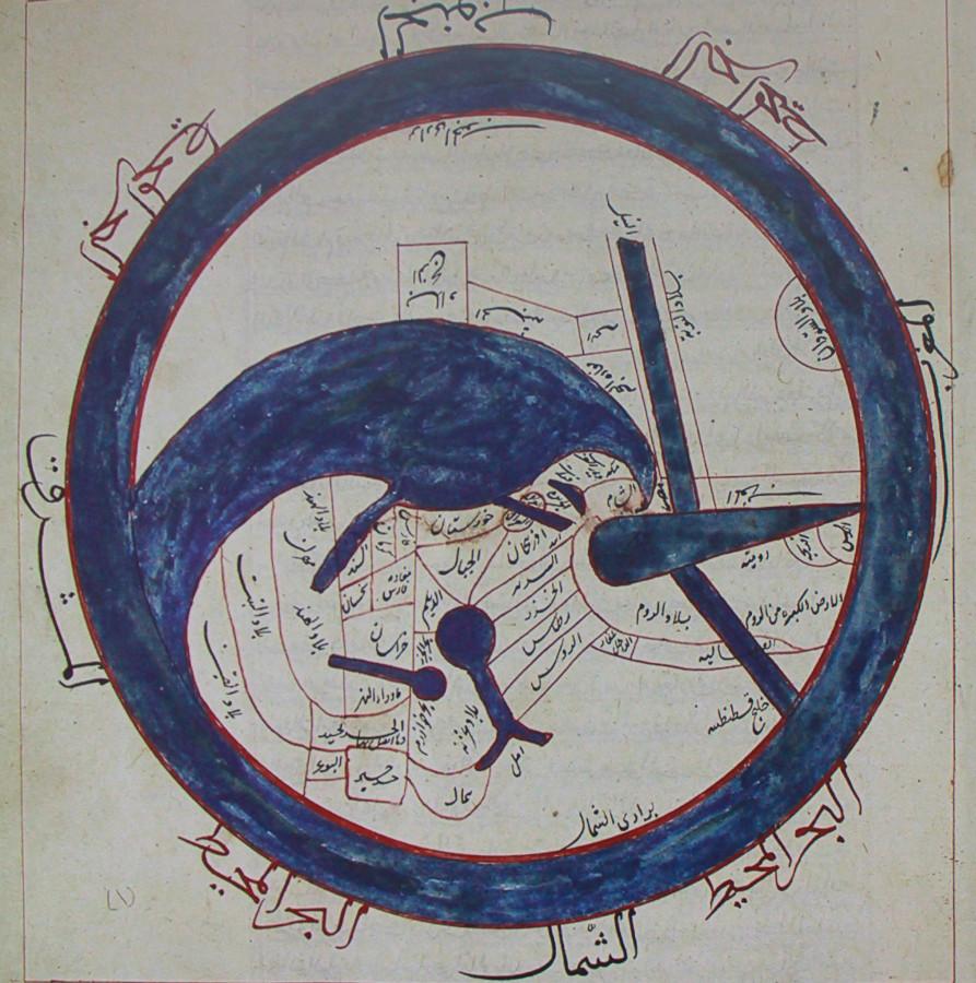Карта мира в виде колеса. Синий круг - мировой океан