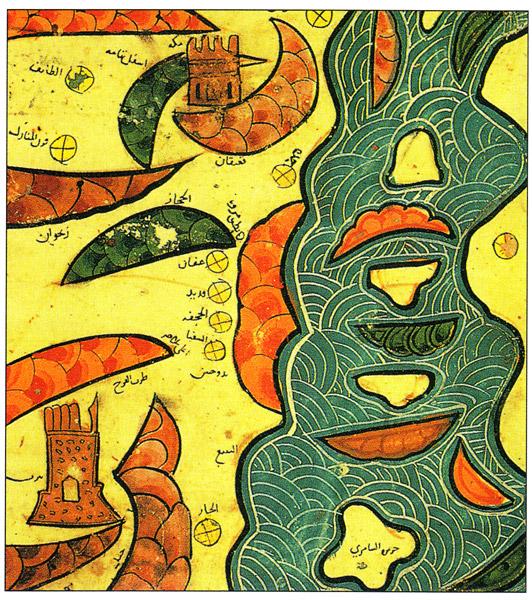 Фрагмент карты аль-Идриси, изображающий Мекку и Красное море: