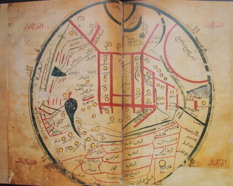 Карта Махмуда аль-Кашгари, XI век.  В центре город Баласагун, столица царства Караханидов