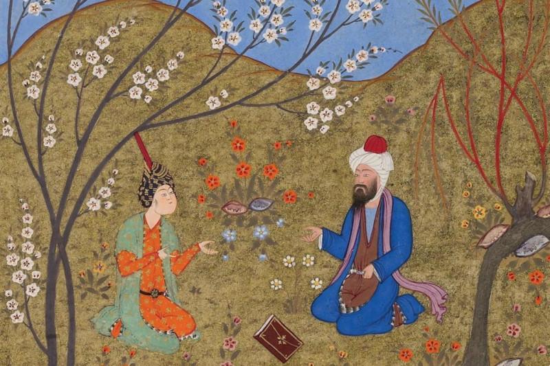Беседа под цветущим деревом