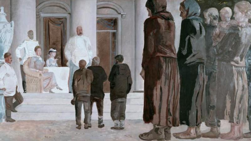 Богатая элита и нищий народ.  Александр Дейнека. Два класса (фрагмент). 1934