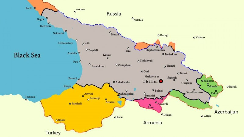 Карта территорий которые оккупировала и на которые претендовала Грузинская Демократическая Республика. 1921