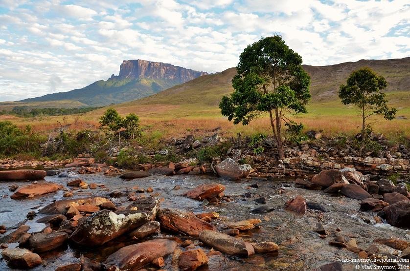 Вид на тепуи Кукенан с речки Ток