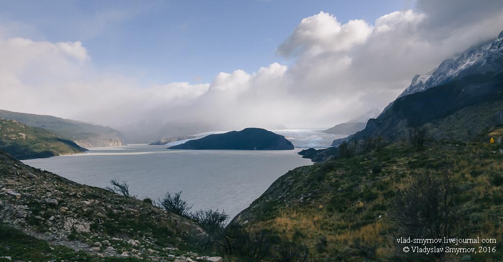 За очередным перевалом показался ледник Грей