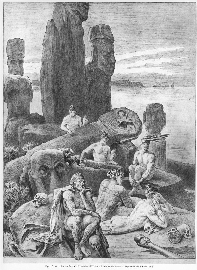 """Акварельный рисунок, сделанный Пьером Лоти и посвящённый мисс Саре Бернхардт. Рисунок имеет надпись """"Остров Пасхи 7 января 1872 года"""""""