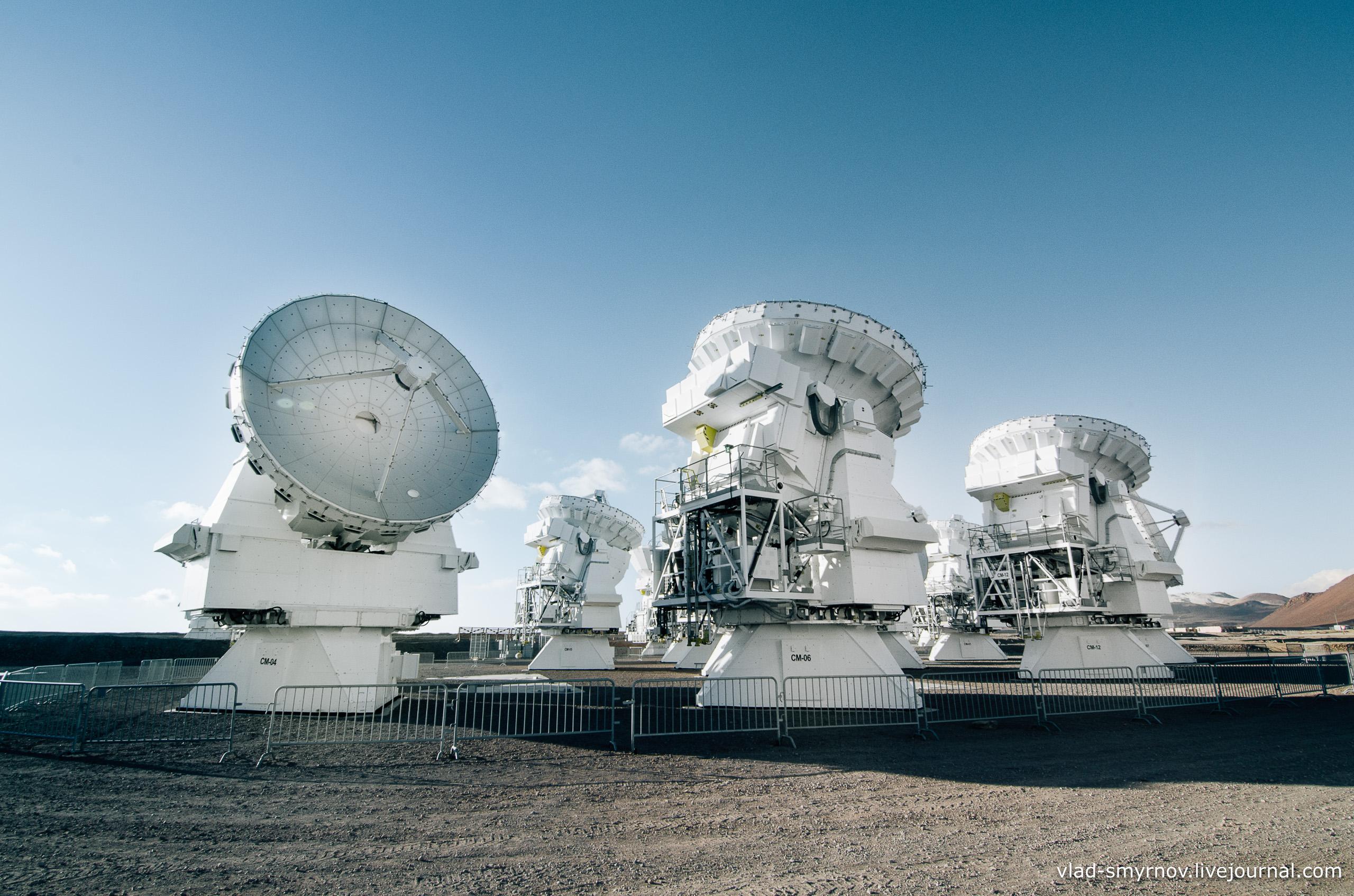 ALMA. Радиотелескопы. Высота - 5100 м.