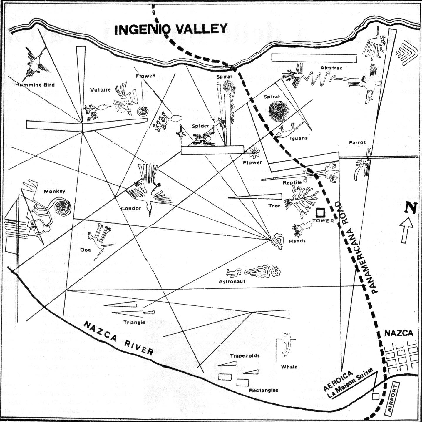 Карта геоглифов пустыни Наска