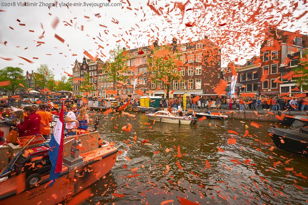 День Короля в стране тюльпанов. Часть 1 - оранжевые улицы Амстердама.