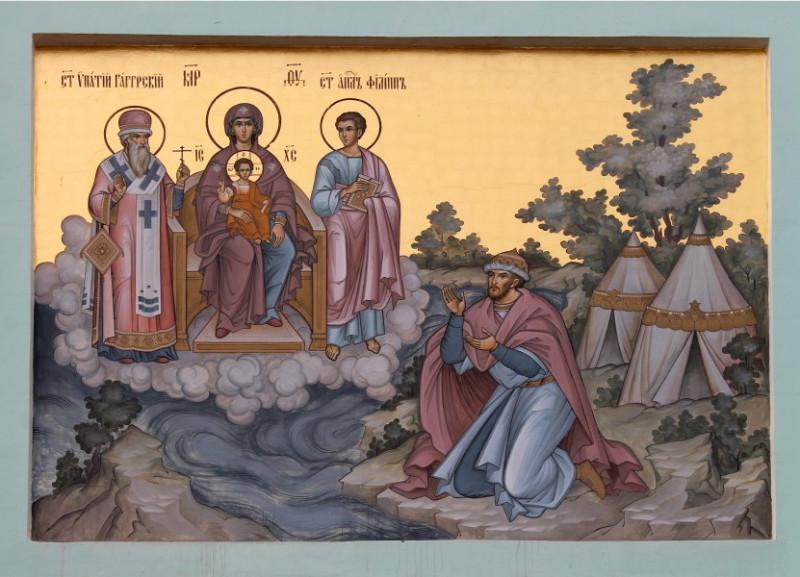 Явление Богоматери с предст. апостолом Филиппом и Ипатием Гангрским боярину Захарию Чету