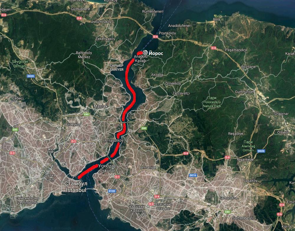 Пролив Босфор: Стамбул - крепость Йорос