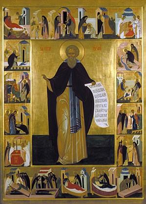 023 - Храмовая икона  - Прп Сергий игумен Радонежский. Конец 20 века.