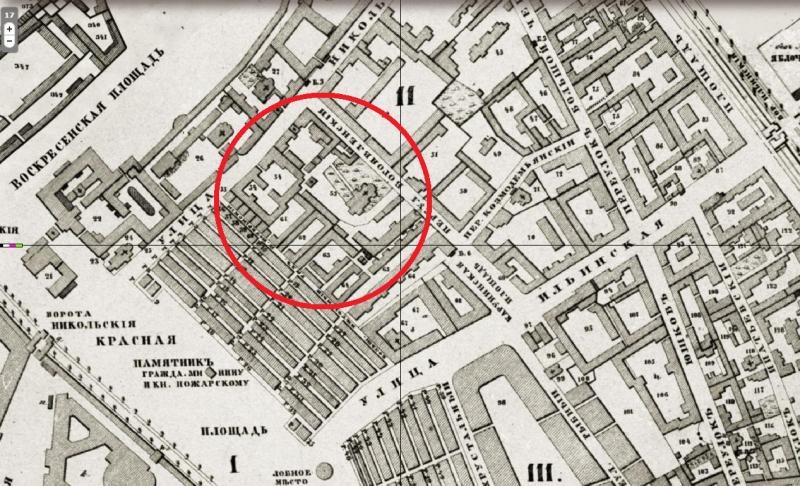 Богоявленский монастырь - Хотевский план - 1852 год.