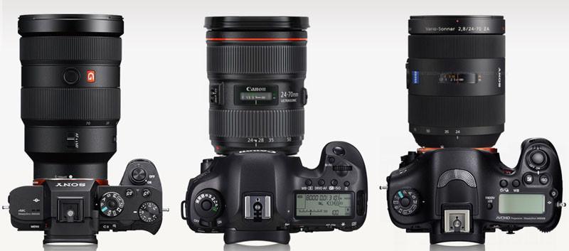 Сравнение зеркальных фотокамер Canon, Nicon c беззеркалкой Sony A7