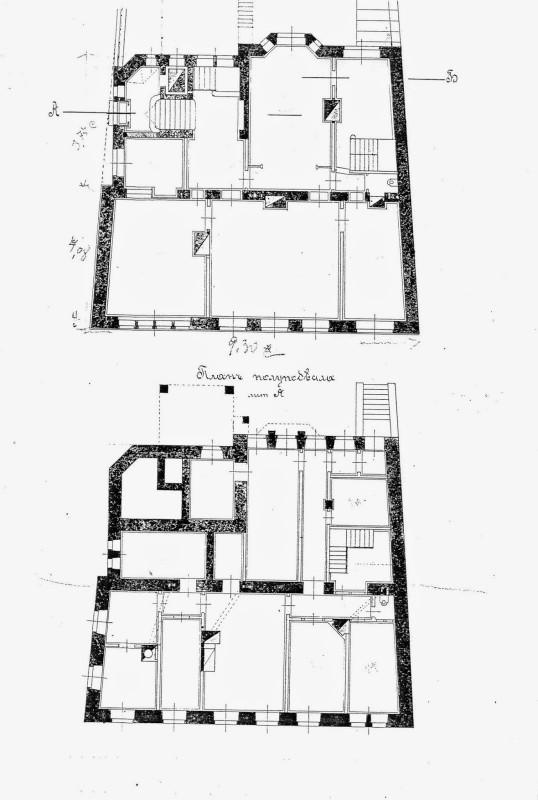 Планы цоколя и 1-го этажа особняка