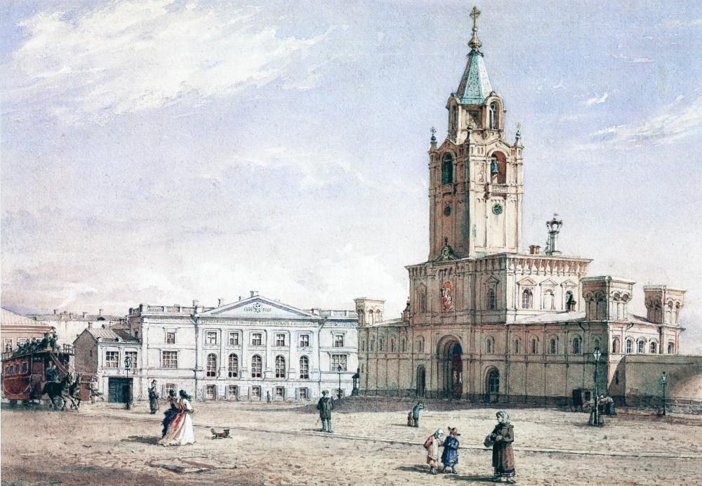 Страстной монастырь Акварель Ф.И. Ясновского. 1878.